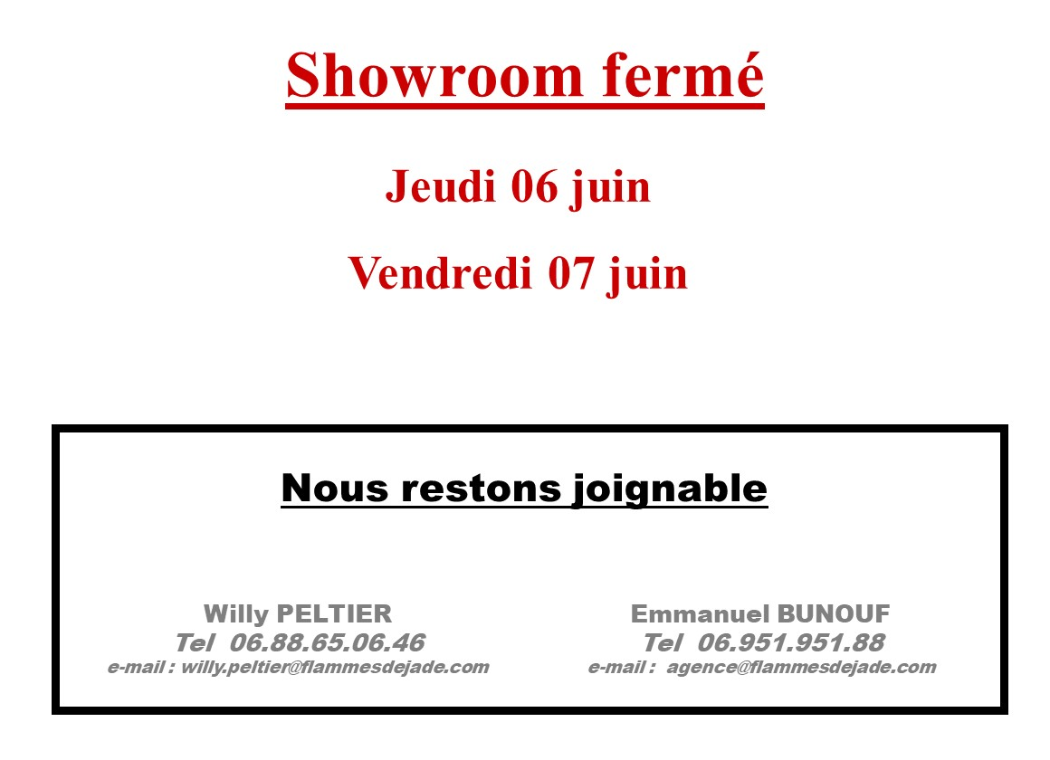 Horaires OUVERTURE Showroom 060619