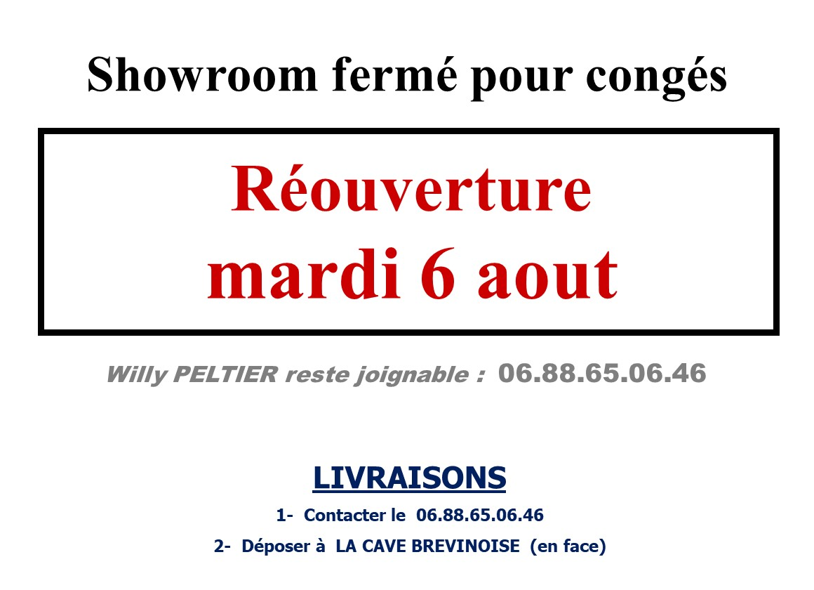 Horaires OUVERTURE Showroom